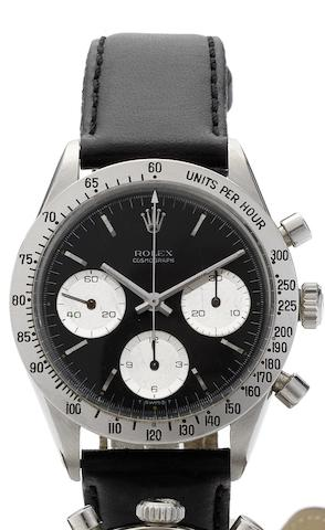 Rolex. A fine stainless steel manual wind chronograph wristwatch Ref:6239, Case No.1417923, Cosmograph, Circa 1963