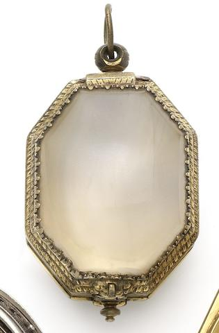 A fine and very rare early 17th century rock crystal and gilt metal octagonal watch case
