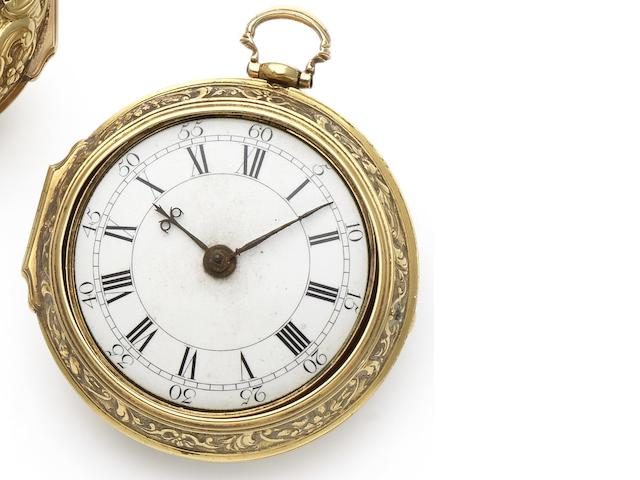 William Webster. A fine early 18th century 22ct gold repoussé pair case pocket watch Numbered 2949, London Hallmark for 1723