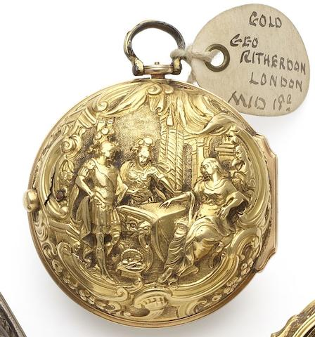 Geo.Ritherdon. A fine mid-18th century 22ct gold repoussé pair case pocket watch Circa 1760