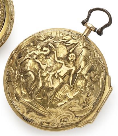 Wm. Morris. An early 18th century fine 22ct gold repoussé pair case pocket watchNo.2495, Circa 1730