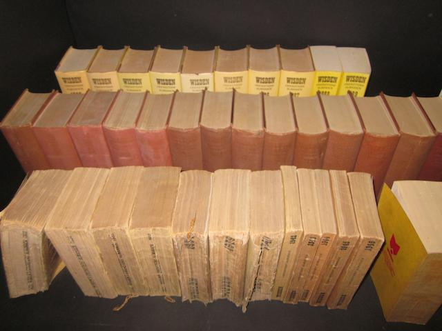 A collection of Wisden cricketers almanacks