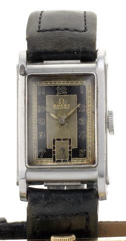 Omega. A rare stainless steel manual wind waterproof wristwatch  Marine Standard, Movement No.9272323, Case No.9901981, Circa 1935