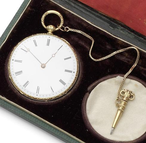 Bachelard & Sons. A fine 18ct gold open face pocket watch together with chain, setting tool, spare glass and original fitted boxNumbered 15514, London Hallmark for 1902