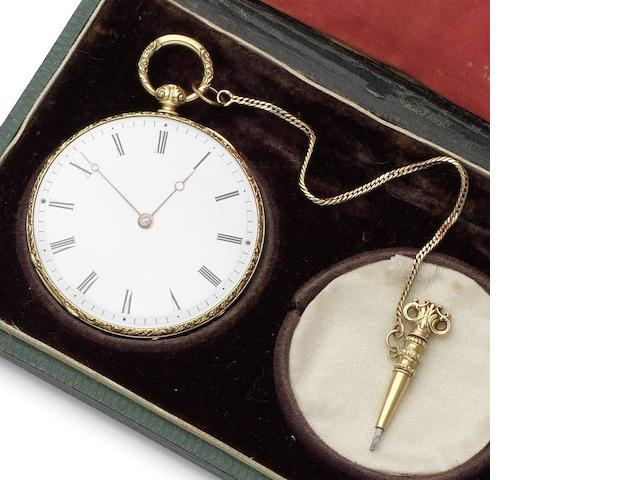 Bachelard & Sons. A fine 18ct gold open face pocket watch together with chain, setting tool, spare glass and original fitted box Numbered 15514, London Hallmark for 1902