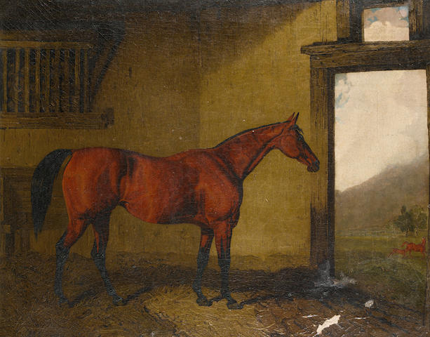 Lambert Marshall (British, 1810-1870) Cobweb in a loose box with her foal at the door