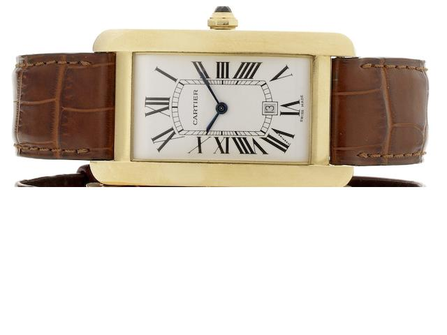 Cartier. An 18ct gold automatic calendar wristwatch Tank Americaine, Recent