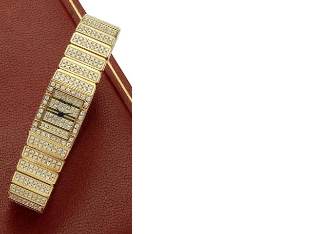Piaget. A lady's 18ct gold and diamond set quartz bracelet watch Movement No.75657, Circa 1980
