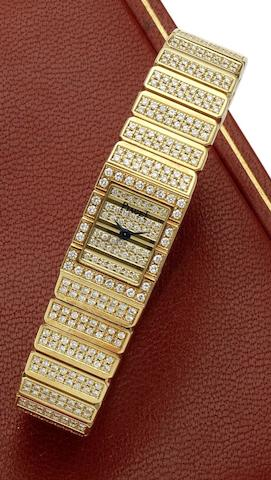Piaget. A lady's 18ct gold and diamond set quartz bracelet watch Movement No.75657, Circa 1980