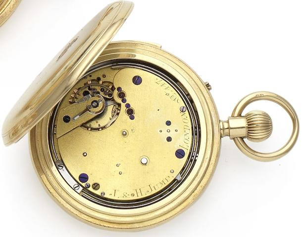 Joseph & Henry Jump. A fine late 19th century 18ct gold minute repeating manual wind half hunter pocket watch   Numbered 447, London Hallmark for 1875