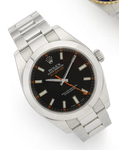 Rolex. A stainless steel automatic bracelet watch together with box and papers Milgauss, Ref:116400, Serial No.M694252, Made in 2008
