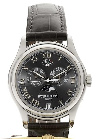 Patek Philippe. A fine platinum automatic triple calendar wristwatch with moonphases and 48 hour power reserve Ref:5056P, Case No.4208828, Movement No.3287476, Recent