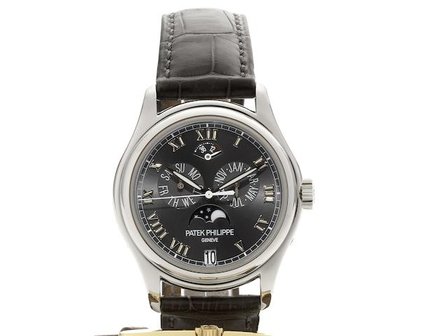 Patek Philippe. A fine platinum automatic triple calendar wristwatch with moonphases and 48 hour power reserveRef:5056P, Case No.4208828, Movement No.3287476, Recent