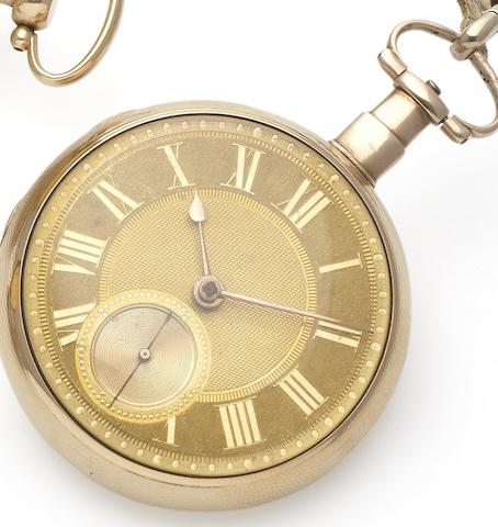 Grimalde and Johnson.  A fine early 19th century 18ct gold open face pocket watch with duplex escapement Case and Movement Numbered 4990, London Hallmark for 1806