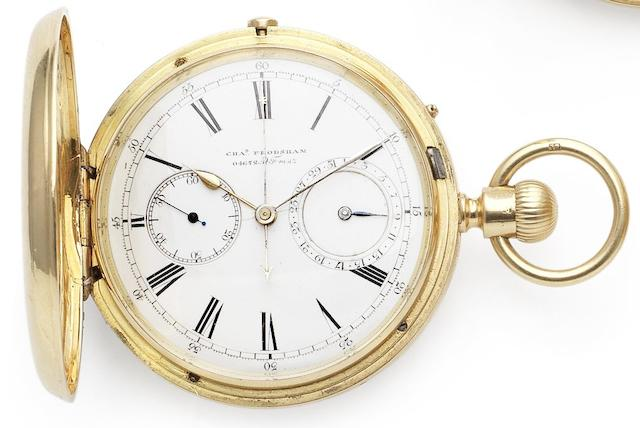 Arnold Charles Frodsham. A fine 18ct gold full hunter chronograph calendar pocket watchLondon Hallmark for 1872