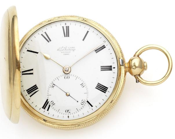 James McCabe. An early 19th century 18ct gold full hunter pocket watch Numbered 11668, London Hallmark for 1826 and case stamped IWC