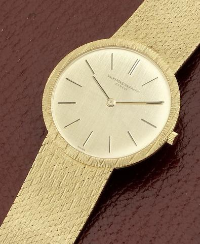 Vacheron Constantin. An 18ct gold manual wind bracelet watch together with presentation box and papers Ref: 6352, Sold in Brussels 10th October 1970