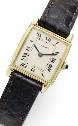 Cartier. A fine and rare 18ct gold reversible wristwatchCase No.53669, Movement No.13570, Circa 1970