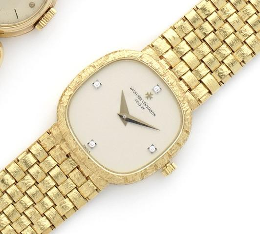 Vacheron Constantin. A lady's fine 18ct gold manual wind diamond set bracelet watch together with fitted box and papers Case No.558560, Circa 1990