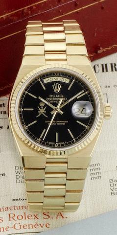 Rolex. A 18ct gold quartz calendar bracelet watch together with box and guarantee certificate Oysterquartz Day-Date, Ref:19018, Case No.6253199, Circa 1980