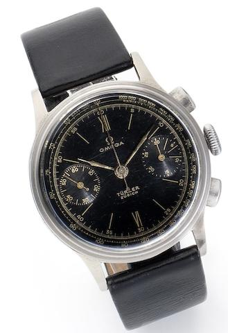 Omega. A stainless steel chronograph wristwatch Retailed by Turler, Zurich, Circa 1940