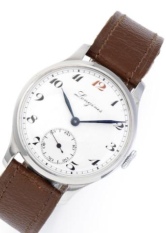 Longines. A stainless steel manual wind wristwatch Circa 1938
