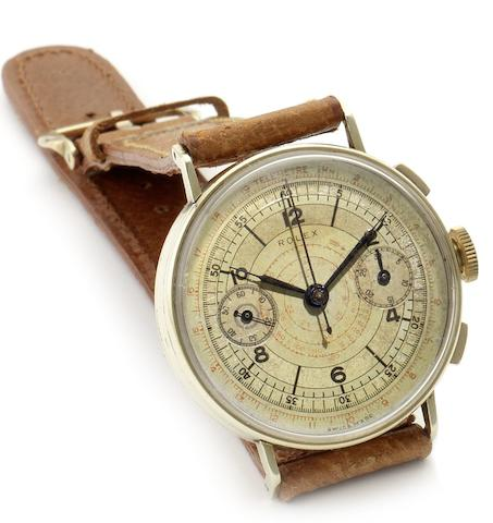 Rolex. A rare 14ct gold manual wind chronograph wristwatchRef:3666, Case No.3070492, Circa 1940
