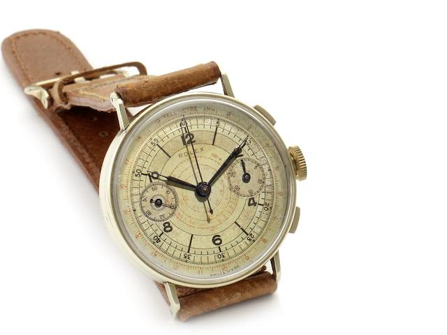Rolex. A rare 14ct gold manual wind chronograph wristwatch Ref:3666, Case No.3070492, Circa 1940