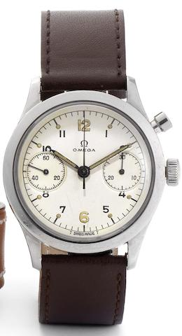 Omega. A rare stainless steel manual wind single button chronograph wristwatch with hacking seconds made for the Canadian Military Movement No.1473010, Case Numbers HA-62-1361 6W/16, Issued in 1962