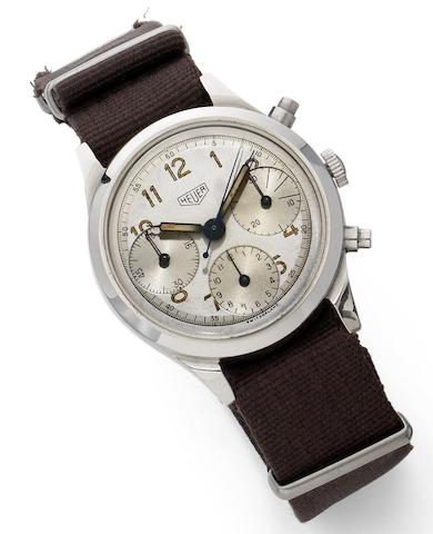 Heuer. A stainless steel centre seconds chronograph wristwatch Movement No.750380, Circa 1940