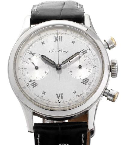 Breitling. A fine stainless steel manual wind chronograph wristwatchCase Numbered 620668/777, Circa 1940
