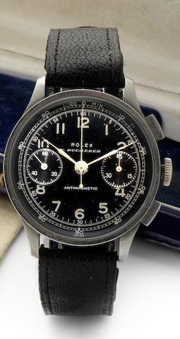 Rolex. A fine and rare stainless steel chronograph wristwatch retailed by Bucherer Antimagnetic, Ref:2508, Case Numbered 195801/4822, Circa 1940