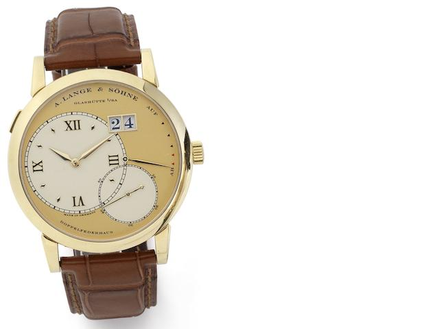 Lange and Söhne. A fine 18ct gold manual wind calendar wristwatch with power reserve Grande Lange 1, Movement No.41334, Case No.149599, Sold 20th September 2006