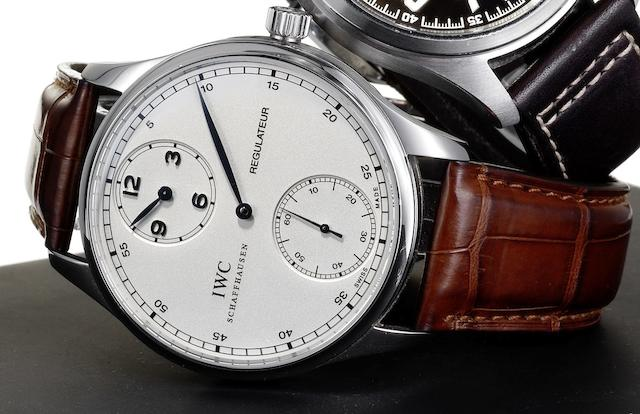 IWC. A fine stainless steel manual wind wristwatch with regulator dial Portuguese Regulateur, Sold May 2007