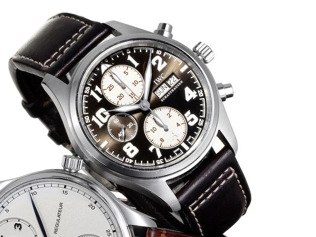 IWC. A stainless steel limited edition automatic chronograph calendar wristwatch Ref:3717, Antoine De Saint Exupery Edition, Case No.3159914, Limited Edition No. 250/1630, Sold 8th of June 2007