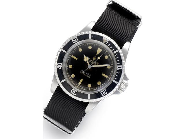 Rolex. A stainless steel automatic centre seconds wristwatchSubmariner, Ref:5512, Serial No.478021, Circa 1959