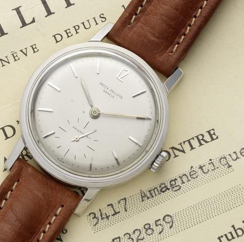 Patek Philippe. A fine and rare steel automatic wristwatch together with original Certificate and Origin and fitted box Amagnétique, Ref:3417, Case No.2633152, Movement No.732859, Retailed by Hausmann, Circa 1966