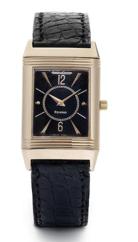 Jaeger-LeCoultre. A lady's 18ct rose gold manual wind reverso wristwatch together with fitted box Numbered 0425, Case No.250286, Recent