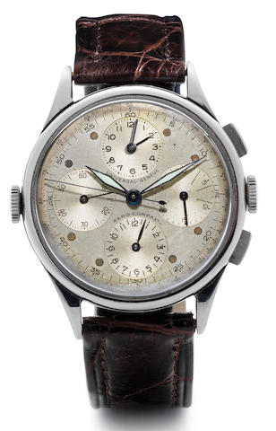 Universal. A stainless steel chronograph triple register manual wind wristwatch Tri-Compax