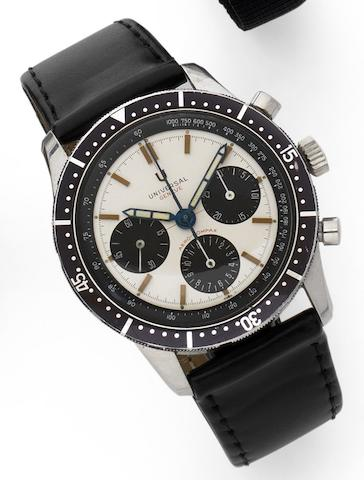 Universal. A stainless steel manual wind chronograph wristwatch Aero-Compax, Circa 1965