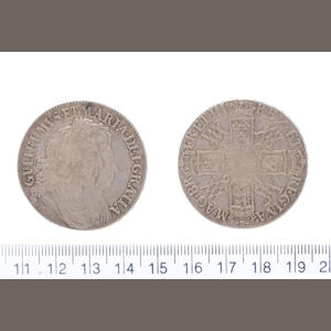 William and Mary, Crown, 1691, conjoined busts right, I/E in GVLIELMVS,