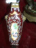 A Canton, or other enamel vase decorated with a Qianlong mark; together with a bronze oviform bowl