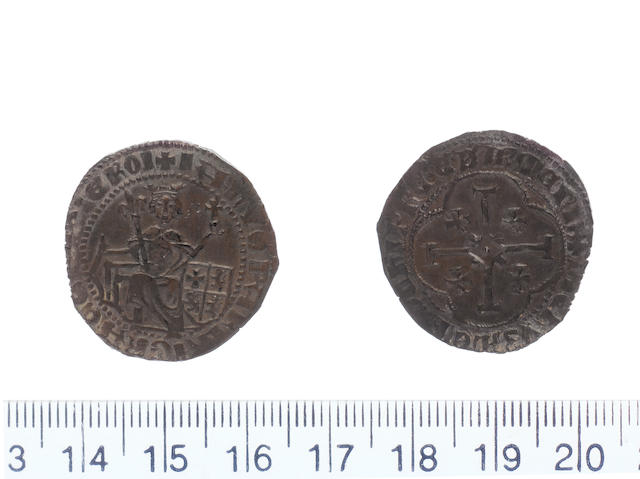 Janus AD 1398-1432 AR.Gros.Type.B.(4.58g).dies B/D.+IANVS PAR LA GRACE (DE) DIE ROI, king enthroned holding sceptre in right hand and globus cruiger in left, lower right field shield containing arms of Cyprus.