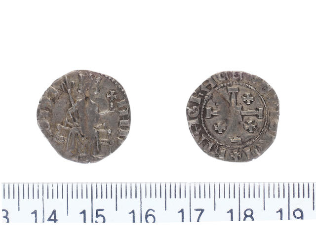 Janus AD 1398-1432 AR.Gros petit.(1.74g).dies A/b. IANVS PA, king enthroned holding sceptre in right hand and globus cruciger in left.