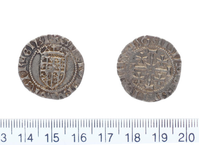 Charlotte AD 1458-1460 AR.Gros.(3.87g). Type A dies A-g. CARLOTA DE GRA REGINA, crowned and quartered shield bearing the arms of Jerusalem, Cyprus and Armenia.
