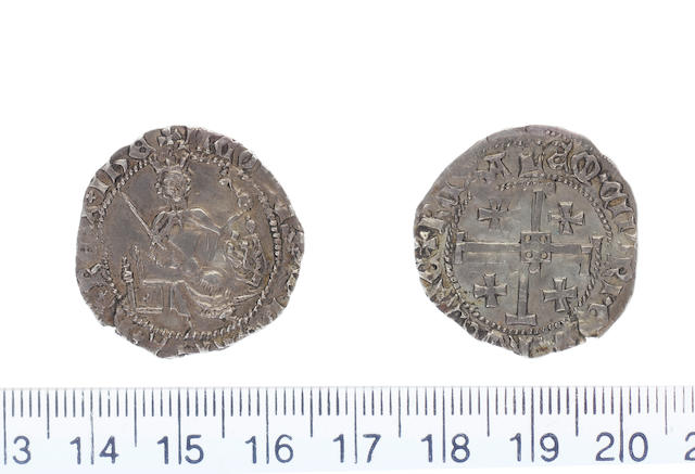 James II AD 1460-1473 AR.Gros Coronation issued (3.44g).Dies A b. + IACOBUS+ DEI+ GRAIA+ XX+ REX+ IHE, king enthroned holding naked sword in right hand and globus cruciger in left, right filed shield containing lion of Cyprus.
