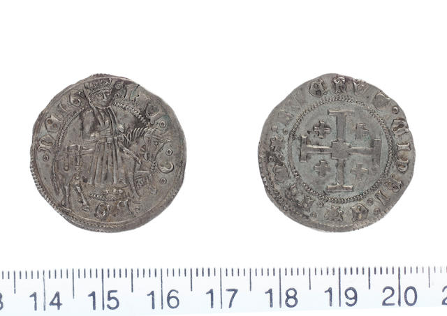 James II AD 1460-1473 AR.Gros.(3.83g).Type E dies A/-. IACOBUS DEI G, James II riding right holding naked sword in right hand over right shoulder.