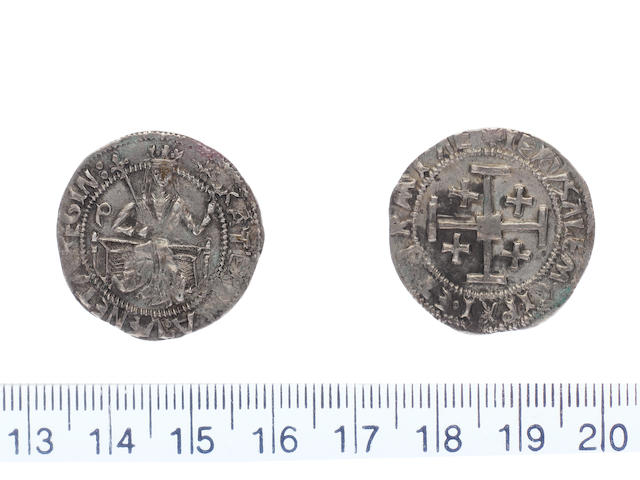 Catherine Conaro AD 1474-1489 AR.Gros.(3.65g.).Type B dies B1/-  KATERINA VENETA REGINA, Catherine enthroned holding sceptre in right hand across shoulder and globus cruciger in left, letter P left field.
