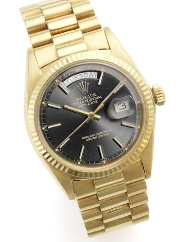 Rolex. An 18ct gold calendar automatic bracelet watch Day-Date, Ref:1803, Case No. 2858919, Circa 1970