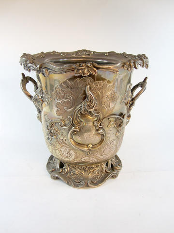 A Sheffield plate twin-handled wine cooler